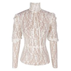 Beautiful laced transparent lace top. The high neck of this blouse gives a very Victorian feel to it The top is completed with a satin ribbon bow to the front.