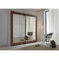 Schwebetürenschrank Kleiderschrank silber / Walnuss mit Spiegel Navena10 - Möbel Galerie - exclusive Designs