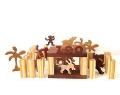 Miniature Zoo Waldorf Wood Toy Play Set 41 Pieces Zoo Animal Toys