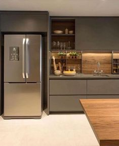 ✔ 50 creative modern kitchen cabinet design ideas for large space storage 41 ~ Ideas for House Renovations Luxury Kitchen Design, Kitchen Room Design, Contemporary Kitchen Design, Kitchen Cabinet Design, Home Decor Kitchen, Interior Design Kitchen, Kitchen Ideas, Luxury Kitchens, Modern Kitchen Designs