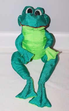 "Vintage Nylon Plush 15"" Parachute Stuffed Frog Toy Puffalump Style Green Squishy #Unbranded"