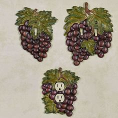 Wine lovers will cheer for the fruitful Grape Harvest Switchplates. Made of resin, these hand-painted, dimensional switchplates feature lush sangria grapes. Wine Theme Kitchen, Grape Kitchen Decor, Kitchen Decor Themes, Kitchen Dining, Kitchen Ideas, Carbs In Beer, Harvest Kitchen, Home Bar Decor, Wine Baskets