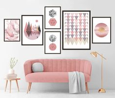 Gallery Wall Set of 6 Scandinavian Abstract Prints, Mid Century Modern Wall Art, Geometric Prints, Minimalist Pink Marble Printable Art Turquoise Wall Art, Pink Wall Art, Pink Art, Wall Art Decor, Marble Printable, Printable Wall Art, Blush Walls, Pink Walls, Geometric Prints