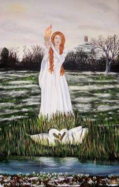 Brighde Gift Card by Elluna Art. The Maiden Goddess who ignites the land back to life Catholic Feast Days, Owl Wings, St Brigid, Goddess Art, Brighid Goddess, Divine Goddess, Sacred Feminine, Divine Feminine, Celtic Mythology