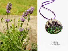 Lavender pendant, medal - polymer clay