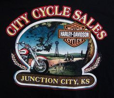 Harley Davidson City Cyle Sales T-shirt XL Junction City Kansas Tractor Windmill #HarleyDavidson #GraphicTee