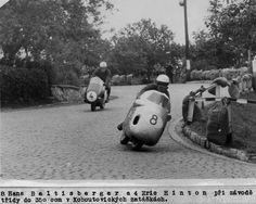Eric #4, full bin streamlined Norton follows #8 Hans Baltisberger likely 1956 in Czechoslovakia.