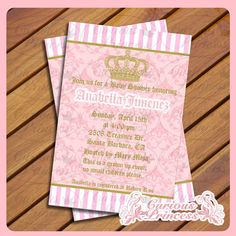 juicy couture inspired printable 4x6 invitation pink damask and gold crown tiara real party girly girl baby shower birthday party