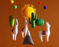 Baby mobile nursery mobile baby Llama mobile Llama nursery Cactus baby mobile Cactus nursery South American Bright baby mobile Bright poms