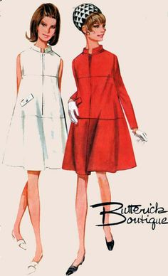 Vintage 60s Tent Trapeze Dress with Front Zipper Sleeveless or Long Sleeves Butterick 4404 60s Mod Vinage Sewing Pattern Size 14 B34Uncut by sandritocat on Etsy