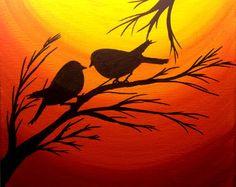 Original Acrylic painting on canvas, Sunset love birds, Birds on a tree silhouette art, 8 by 10 inches stretched framed canvas, signed art Peinture originale de coucher de soleil Noël cadeaux par PreethiArt Vogel Silhouette, Bird Silhouette, Sunset Silhouette, Bird Paintings On Canvas, Canvas Artwork, Framed Canvas, Afrique Art, Silhouette Painting, Canvas Silhouette