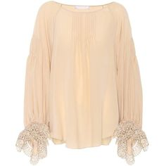 Chloé Silk Blouse ($1,880) ❤ liked on Polyvore featuring tops, blouses, pink, pink top, beige silk blouse, silk blouse, chloe top and chloe blouse
