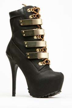 Alba Gold Plated Faux Leather Lace Up Booties