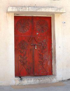 Red door in Oman Door Wall, Windows And Doors, Stairs, Flooring, Gates, Adventure, Furniture, Home Decor, Doors