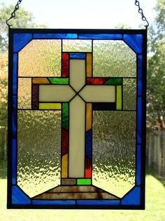 by Frankie's Studio Love stained glass crosses! Stained Glass Church, Stained Glass Ornaments, Making Stained Glass, Stained Glass Birds, Stained Glass Christmas, Stained Glass Suncatchers, Faux Stained Glass, Stained Glass Panels, Sea Glass Art