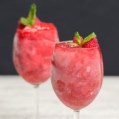 Recipe with video instructions: How to make Raspberry Rosé Sorbet. Ingredients: 2 cups rosé, 1 cup sugar, 1 cup frozen raspberries, Mint, Fresh raspberries