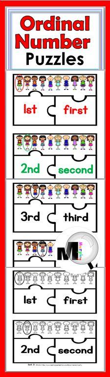 Ordinal Number Puzzles - Kindergarten & Grade 1