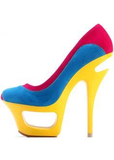 Kvoll Woman's Multi-Color Special-Shaped Heel Suede Platform Pumps