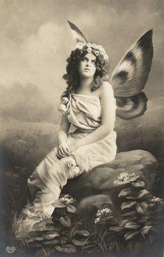 Beautiful Butterfly Lady on Rock Vintage Photo Postcard