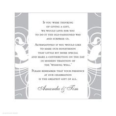 gift registry wording for wedding