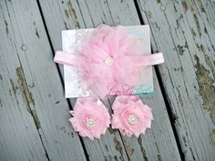 Large Light Pink Flower and matching barefoot sandals by Lovely Lilies Boutique