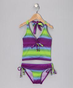 Purple, Blue & Lime Stripe Tankini - Girls
