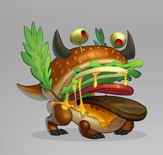 Concepts created for the Game Dragon City. I've designed the complete Fast Food themed island. Dragon City, Bowser, Concept, Illustrations, Island, Artwork, Food, Design, Work Of Art