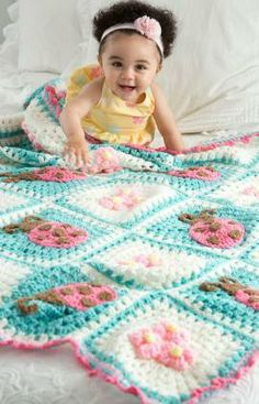 Bugs and Blooms Blanket Free Crochet Pattern on Red Heart Yarns