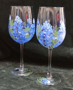 Set of 2 Hand Painted Wine Glasses by SilkEleganceFlorals on Etsy