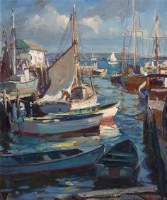 """Sunlit Harbor, Gloucester,"" Emile Albert Gruppé, oil on canvas, 30 x 25"", private collection."