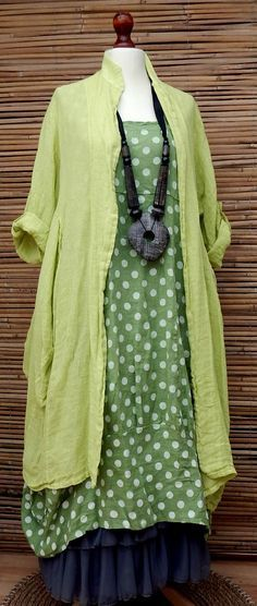 LAGENLOOK LINEN AMAZING BOHO 2 PCS DOTS DRESS+LONG JACKET*LIME/GREEN*SIZE XL-XXL