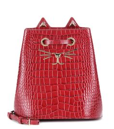 mytheresa.com - Feline embossed leather bucket bag - Luxury Fashion for Women / Designer clothing, shoes, bags Clothing, Shoes & Jewelry - Women - handmade handbags & accessories - http://amzn.to/2kdX3h7
