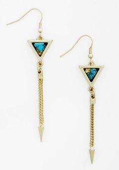 Point of Ooh La La Earrings - Solid, Boho, Gold, Blue, Chain, Minimal, Festival