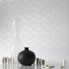 Moderne monochrome Tapeten mit 3D-Effekt - Cubix hellgrau
