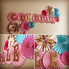 How to make wedding garland pink hearts with paper Happy Birthday Decor, Simple Birthday Decorations, Paper Fan Decorations, Birthday Party Decorations, Baby Shower Decorations, Paper Rosettes, Paper Flowers, Diy Arts And Crafts, Paper Crafts