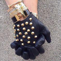 studded gloves + hermes