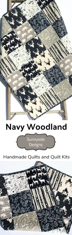 Navy Woodland Nursery Quilt, Baby or Toddler Size, Handmade Baby Quilt, Forest Woodland Deer Woods Bears Feathers, DIY Sewing Kit, Baby Quilt Kit, Toddler Quilt Kit Boy nursery Bedding, Crib Blanket by Sunnyside Designs