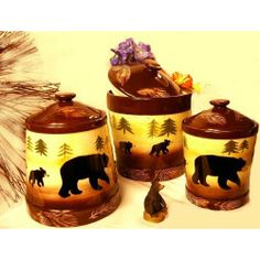 Bear Kitchen Canisters   Amazon.com: Black BEAR kitchen CANISTER SET Lodge cabin Home Decor