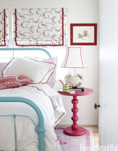 Pink & turquoise accents give this girls room a fun & simple feel