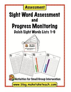 FREE Dolch sight word assessment.  Student recording forms and progress monitoring graphs included!  Great for RtI!