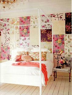 Lovely idea of different squares of wallpaper, makes it look like a giant flowery quilt!