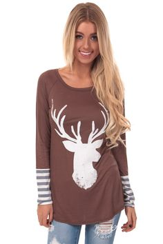 Lime Lush Boutique - Dark Coco Long Sleeve Top with Faded Deer Print, $34.99 (http://www.limelush.com/dark-coco-long-sleeve-top-with-faded-deer-print/)