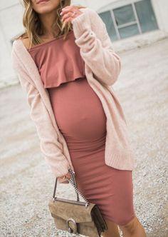 Khaki /& Pink Print Reversible Maternity Dress