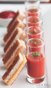 These Baby Shower Snacks and Sips Are Tasty and Cute 20 Mouthwatering Miniature Food Ideas: mini grilled cheese and tomato soup shooters. 20 Mouthwatering Miniature Food Ideas: mini grilled cheese and tomato soup shooters. Snacks Für Party, Appetizers For Party, Appetizer Recipes, Shot Glass Appetizers, Soup Appetizers, Healthy Appetizers, Party Canapes, Wedding Canapes, Baby Shower Appetizers