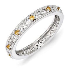 Sterling Silver Citrine Birthstone Filigree Eternity Stack Ring Available Exclusively at Gemologica.com