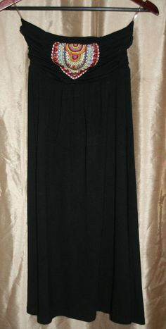 Emmelee Black Strapless dress Size S w/ beading on front top #Emmelee