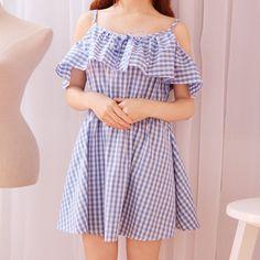 "Sweet dew shoulder grid dress Coupon code ""cutekawaii"" for 10% off"
