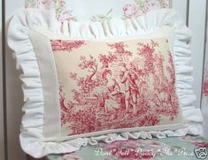Toile   a small piece of vintage toile is all you need add some white or cream fabric old linen and lace makes a lovely cushion