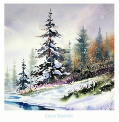 New landscaping watercolor snow ideas Art Aquarelle, Watercolor Landscape Paintings, Watercolor Trees, Winter Trees, Winter Art, Winter Landscape, Landscape Art, Watercolor Christmas Cards, Winter Painting