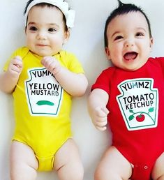 These twins onesies are so cute. Twin Outfits, Matching Outfits, Baby Boy Outfits, Kids Outfits, Funny Baby Halloween Costumes, Twin Halloween, Boy Onesie, Onesies, Twin Costumes